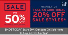 ENDS TODAY: Extra 20% Off Sale Items In Gap Covent Garden!