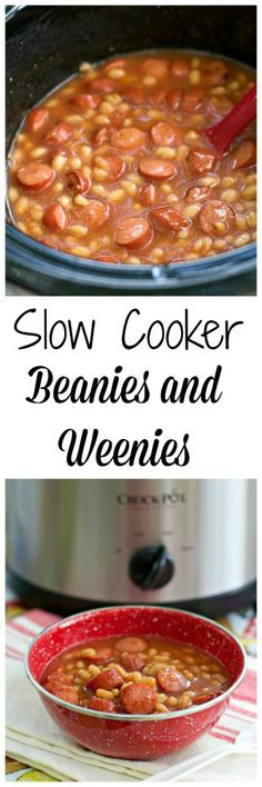 NO HURRY NO WORRY}- I often make Beanie Weenies for my lunch - just in a skillet, but this would be a great way to go if you had to feed a hungry herd of kids! Crock Pot Slow Cooker, Crock Pot Cooking, Slow Cooker Recipes, Cooking Recipes, Healthy Recipes, Crockpot Meals, Small Crockpot Recipes, Healthy Food, Hot Dogs And Beans