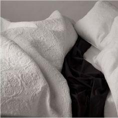 back to bed Boudoir, Malibu Blue, Quatrefoil Pattern, Bed Back, Black Bedding, Home Bedroom, Master Bedroom, Beautiful Bedrooms, Bedding Collections