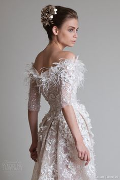krikor jabotian 2014 off shoulder wedding dress sleeves back view