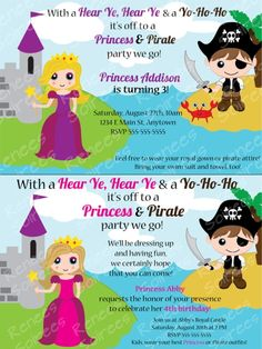 PRINCESS and PIRATE Birthday Party Printable by ReneesSoirees- GREAT idea! Then the boys don't feel left out at a princess party