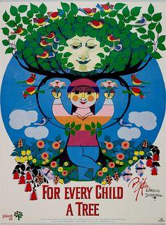 Bjørn Wiinblad - For every child a tree People Art, Trees To Plant, Nars, Planets, Illustration Art, Manga, Children, Danish, Green