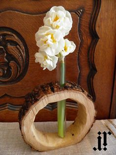 Original design rustic wooden flower vase.