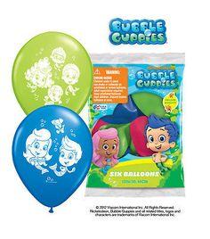 "6 pc 12"" Bubble Guppies Party Latex Balloons Happy Birthday Nickelodeon Mermaid"