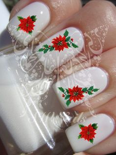 Christmas Xmas Nail Art Red Flower Poinsettia Nail by SWNails