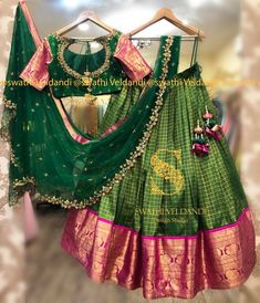 Best 12 Kanjeevaram Lehenga for bride .Love the color combo . Stunning green color kanjeevaram lehenga and blouse with net dupatta. Lehenga with big gold jari boarder. Blouse with jari sleeves. Call or watsapp for details 28 February 2019 Pattu Saree Blouse Designs, Half Saree Designs, Choli Designs, Fancy Blouse Designs, Lehenga Designs, Half Saree Lehenga, Lehnga Dress, Anarkali, Indian Bridal Sarees