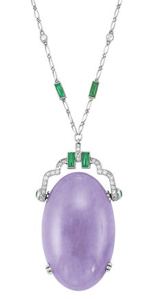 Art Deco Platinum, Lavender Jade, Jade and Diamond Pendant-Necklace  One oval lavender jade ap. 41.0 x 25.0 x 7.8 mm., c. 1920.