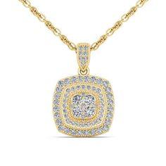 14Kt Yellow Gold 0.50 Ct Diamond Halo Pendant by ElizabethJewelryInc on Etsy