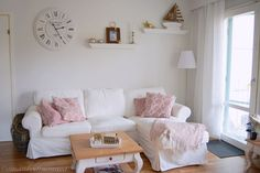 Our white livingroom with some pink. Couch, Living Room, Pink, Furniture, Home Decor, Settee, Decoration Home, Sofa, Room Decor