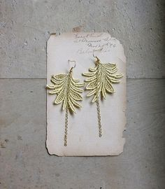long lace earrings- MARTINE - wheat - feather- leaf - modern - nature - cocktail - valentines day