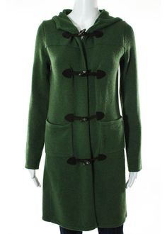 THEORY Green Wool Cashmere Hooded Toggle Sweater Coat