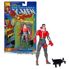"Toy Biz Year 1992 Marvel The Uncanny X-Men X-Force Series 5"" Tall Action Figure - KANE with Assault Rifle, Snap-Back Living Hand and Trading Card"