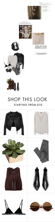 """""""Got a long list of ex lovers, they'll tell you I'm insane."""" by sarahstardom ❤ liked on Polyvore featuring Linea Pelle, Zara, CB2, Cheap Monday, Tom Ford, Acne Studios, Replay and bedroom"""
