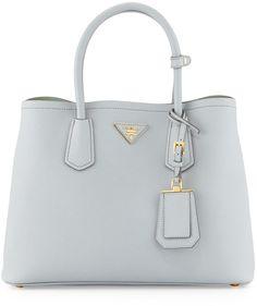 3022a87ab00e Prada Saffiano Cuir Small Shoulder Bag, Pale Gray/Aqua (Granito/Acquamarina)