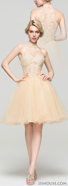 This A-Line high neck knee-length tulle dress will have all eyes on you at this year's Homecoming! #JJsHouse
