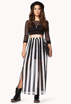 #Forever21                #Skirt                    #Vented #Striped #Maxi #Skirt                       Vented Striped Maxi Skirt                           http://www.seapai.com/product.aspx?PID=56634