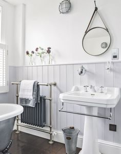 Heritage Bathroom Furniture Elegant Grey Traditional Bathroom with Dark Wood Flooring – Most Popular Modern Bathroom Design Ideas for 2019 Bathroom Sconces, Bathroom Wall, Small Bathroom, Modern Bathroom, Bathroom Ideas, Wood Panel Bathroom, White Bathroom, Bathroom Renovations, Bathroom Radiators