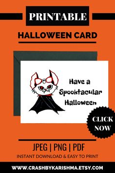Have a Spooktacular Halloween is a Cute Printable Card Digital download available on Etsy.  I have hand drawn this cute spooky card & Digitally converted this into a card. A Spooky Cats Halloween Birthday Card - the cat is dressed as a Dracula or Vampire | Cat Drawing Cute, Simple, Cartoon, Black, Easy, For kids, Anime halloween cards Handmade, Vintage, Stampin up, Diy, Handmade ideas, Homemade, For kids, halloween card For boyfriend, Funny, Cute  #halloween #etsy #cat #greetingcard #card #sale Blog Planner Printable, Printable Cards, Printables, Homemade Cards For Men, Homemade Birthday Cards, Anime Halloween, Halloween Cards, Cat Birthday, Halloween Birthday