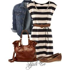 Black and white striped dress, brown belt, purse, and shoes, denim jacket. Would even be adorable with leggings