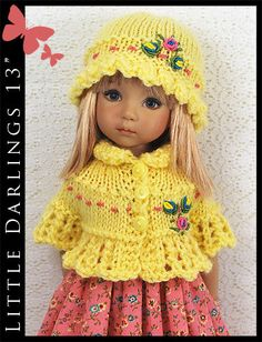"OOAK Yellow & Pink Outfit for Little Darlings Effner 13"" by Maggie & Kate Create"
