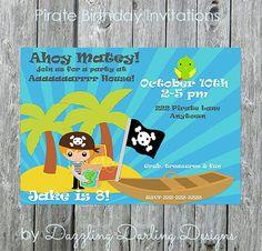 Piratel Birthday Party Invitations Boy Blue by DazzlingDarlings