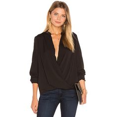 BCBGeneration Surplice Blouse featuring polyvore, women's fashion, clothing, tops, blouses, fashion tops, woven top, sheer button blouse, sheer blouse, sheer tops and cross over top