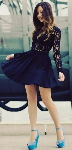 blue lace dress and color pop heels ♥✤ | Keep the Glamour | BeStayBeautiful