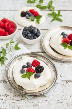 """meringues with fresh summer berries and vanilla creme fraiche - or """"what do make with leftover egg whites""""! Such an easy, elegant dessert!"""