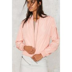 So Bomber Jacket (1.660 CZK) ❤ liked on Polyvore featuring outerwear, jackets, pink, bomber style jacket, pink jacket, flight jacket, pink bomber jacket and zip front jacket