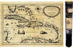 Carte ancienne des Caraibes au temps des pirates en 1657