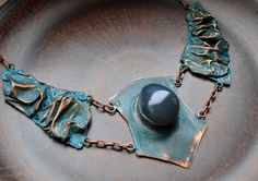 Copper necklace with blue patina and gray agate от TanyaKolyada