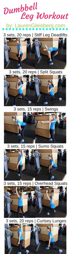 Dumbbell Leg Workout for at home or in the gym | Click for full workout plan by LaurenGleisberg.com