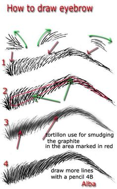 Drawing People This may technically be for sketching, but the instructions are the same for filling in missing eyebrows using makeup. You want the brow pencil to look like little hairs so you don't resemble a cartoon character when you're finished! Drawing Lessons, Drawing Techniques, Drawing Tips, Drawing Tutorials, Art Tutorials, Drawing Sketches, Pencil Drawings, Painting & Drawing, Sketching