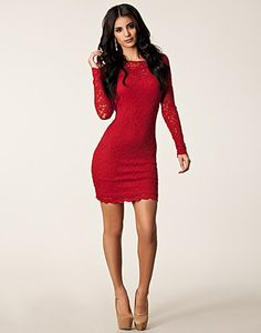 Lace Cut Out Back Dress - John Zack - Red - Party dresses - Clothing - NELLY.COM UK