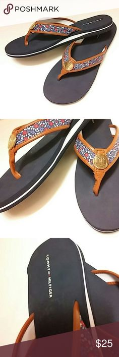 *Tommy Hilfiger* Gorgeous *Tommy Hilfiger* flip flops... These are so pretty!!! They have cute hardware on the top of the shoe that has the TH logo on it... There is flower print on the cloth part of the shoe... It is a red, white, & blue colored flower print...*BRAND NEW* Tommy Hilfiger Shoes Sandals