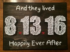 Happily Ever After Wedding Date string art.
