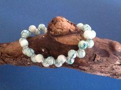 SALE - Goddess bracelet with blue veined glass beads £2.50