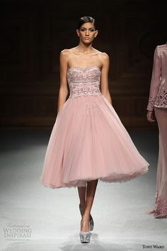 tony ward couture spring summer 2015 runway strapless short pink fluffy dress