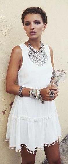 white dress and jewelry
