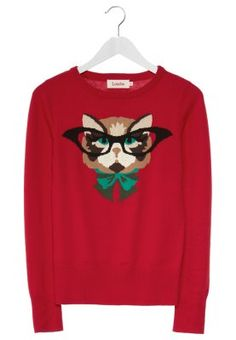 Louche KAT Sweter czerwony ze słodką kotką/ sweet she-cat sweater