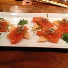 Sake Meron: Smoked Salmon with Cantaloupe, Coriander, Mostarda and Skye Yogurt @ Uchi