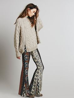 Free People Border Print Bell Bottoms
