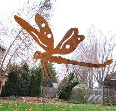 Dragonfly Garden Stake / Garden Decor / Yard by RusticaOrnamentals, $38.99