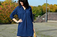 Whistles chambray shirt dress dyed navy blue