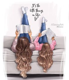 Mother And Daughter Drawing, Mother Daughter Quotes, Mother Daughters, Daddy Daughter, Best Friend Drawings, Girly Drawings, Cute Girl Drawing, Cute Girl Wallpaper, Portrait Illustration