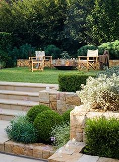 Joanne Green | Artarman, North Shore, Sydney, Classic style, Outdoor Dining, Kitchen garden, Productive Garden, Pool, Sawn Sandstone Pavers, Stone wall, Western Red Cedar Fence, Tuscan Style Garden, Mediterranean Garden, Sage varieties, Japanese Box, Mediterranean Spurge, Crepe Myrtle, Pencil Pines, Indian Hawthorn, Persian Shield, Silver Spur Flower, Silverbush and Sweet Viburnum, Landscape Design, Garden Lighting, Sandstone Steps, Outdoor Terrace, fire pit, directors chairs.