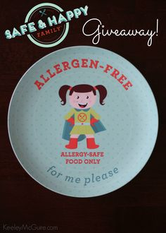 Who's your food allergy superhero? #MySafeFamily Allergen-Free Superhero Allergy-Girl or Allergy-Boy Plate GIVEAWAY!