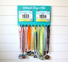 Running Race Bib and Medal Holder Celebrate Every by YorkSignShop