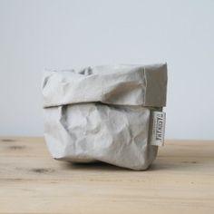 grey paper bag