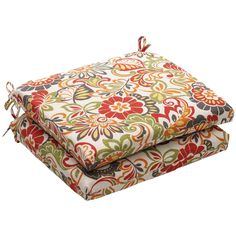 Outdoor Multicolored Floral Square Seat Cushion (Set of 2) - Overstock™ Shopping - Big Discounts on Pillow Perfect Outdoor Cushions & Pillows